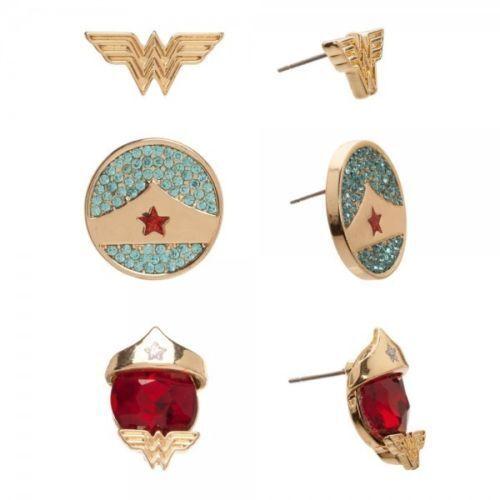 "Dc comics ""wonder woman"" 3 pair set of stud earrings new on manufacturers card"