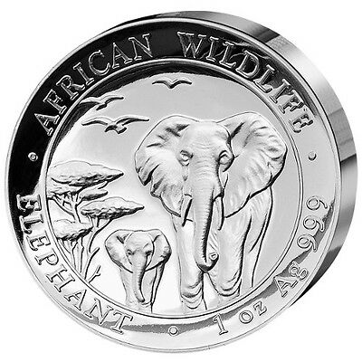 2015 1 oz Somalian Silver Elephant Proof Coin (High Relief)