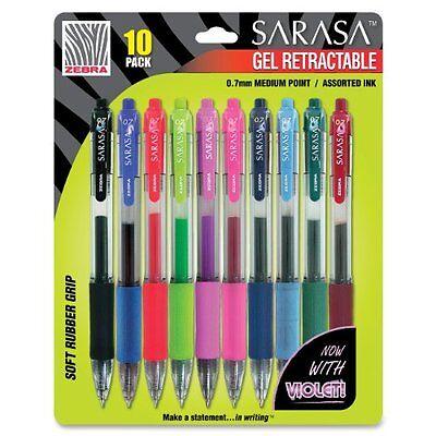Zebra Pen Sarasa Gel Retractable Pen - Medium Pen Point Type - Assorted 46881