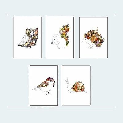 "IKEA Kort Art Card""Floral Fauna""Katie Vernon 5-Pack 4"" x 6"" Prints Animal Flower"