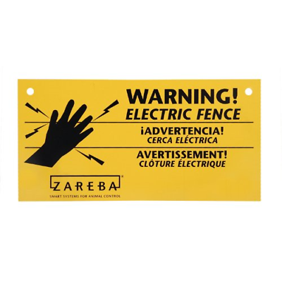 Yellow Electric Fence Warning Sign 3-Pack Set Outdoor Farms