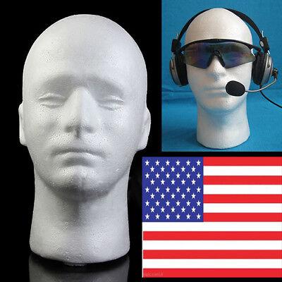 Male Mannequin Styrofoam Foam Manikin Head Wig Glasses Hat Display Stand Usa