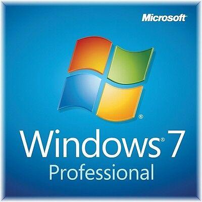 Windows 7 Professional 32/64-Bit COA Product Key Code License w/ Disc w/ Laptop
