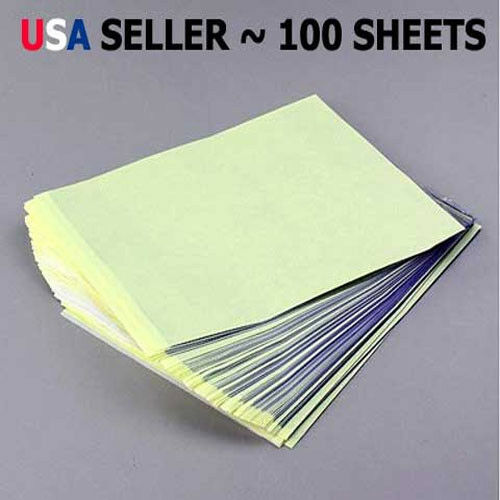 "100 Sheets Tattoo Carbon Stencil Transfer Paper 8.5""x11"" Master Units Sheet YW"