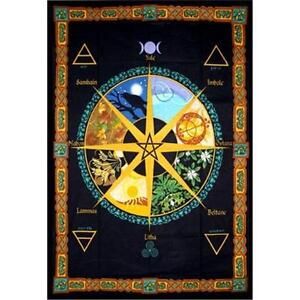 Pagan Wheel of the Year Calendar Cotton Tapestry!  pagan wicca witch