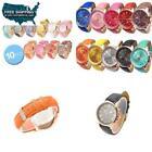 Geneva Gold Plated Band Platinum Case Wristwatches
