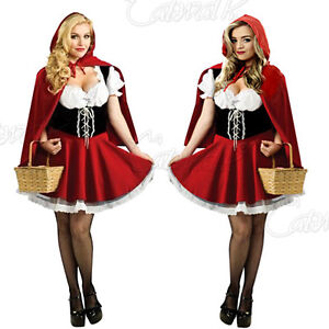 LADIES FAIRYTALE CHARACTER LITTLE RED RIDING HOOD COSTUME FANCY DRESS COSTUME UK