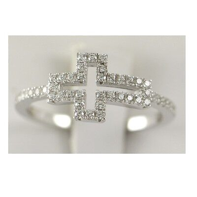 Sterling Silver 925 Ladys Engagement Ring Womens Wedding Band Round Cut Cross Cross 925 Silver Ring