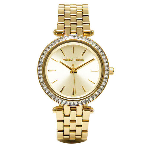 Michael Kors Women's MK3365 Mini Darci Glitz Pave Bezel Gold-tone Watch