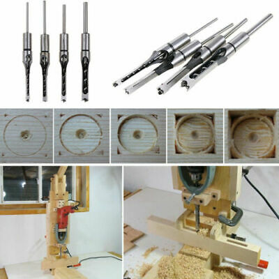 4xSquare Hole Saw Auger Mortise Drill Bit Set Mortising Woodworking Chisel Z0Q8