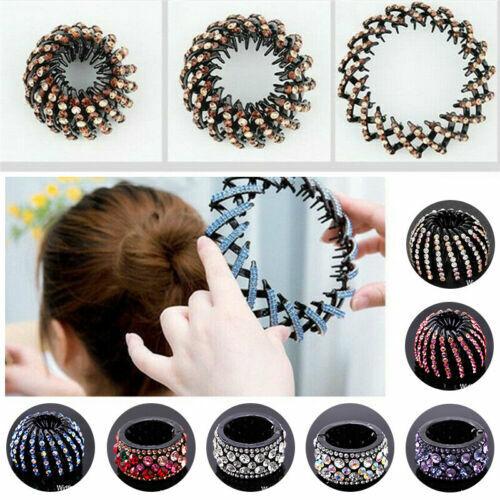 Women Round Crystal Rhinestone Claw Hair Clip Clamp Ponytail Holder Headwear