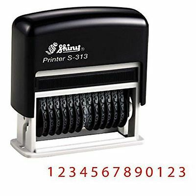Band Numberers (Shiny Self Inking 13 Band Rubber Numbering Stamp S-313 | Red Ink )