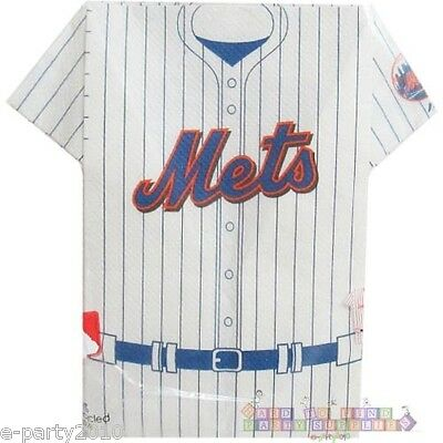 MLB NEW YORK METS JERSEY SHAPED NAPKINS (12) ~ Sports Birthday Party Supplies