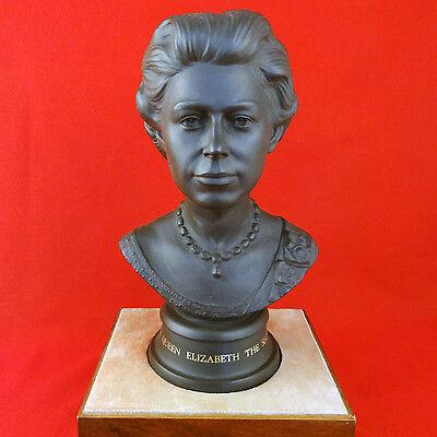 "Queen Elizabeth II Royal Doulton BASALT BUST 10.75""Silver Wedding '72 NEW IN BOX"