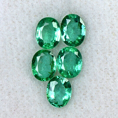 Natural Lustrous Top Green Oval Cut Lot Emerald 5x4 mm Zambia 1.80 cts Gemstone