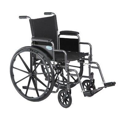 "Invacare 18"" Folding Lightweight Wheelchair Removable Arms Swingaway Legrest"
