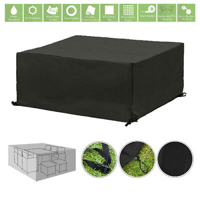 Black 10 Seater Cube Outdoor Waterproof Garden Patio Furniture Cover Protector