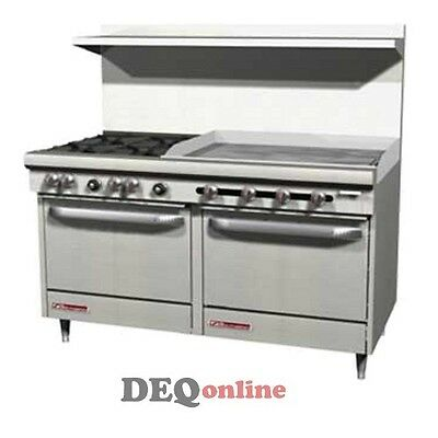 Southbend S60dd-3g 60 Gas Range W 4 Burners 36 Griddle And 2 Standard Ovens