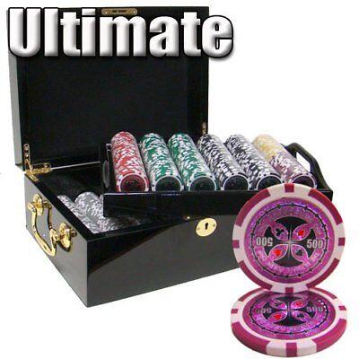 500ct. Ultimate 14g Poker Chip Set in Mahogany Wood Case + Dealer -