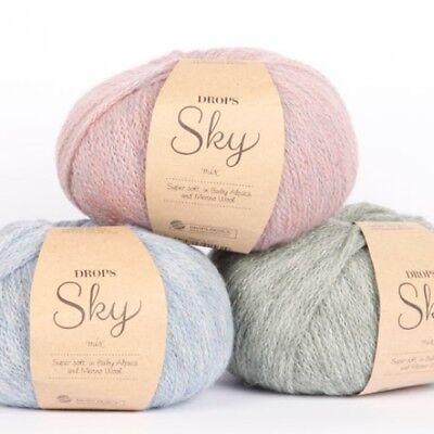 NEW! DROPS SKY Baby alpaca + merino DK knitting yarn SUPER SOFT Light weight 50g ()