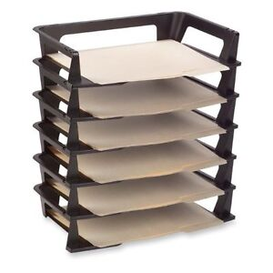 6 pack letter tray desk organizer paper office file tier - Desk drawer paper organizer ...