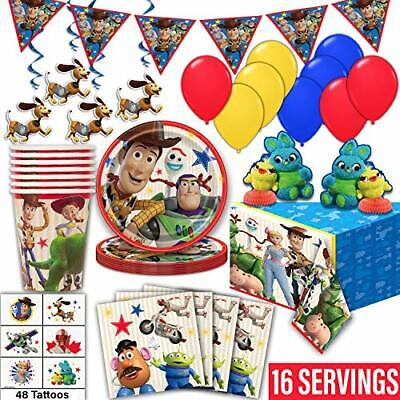 Toy Story Tablecloth (Toy Story 4 Party Supplies for 16- Plates, Cups, Napkin, Tablecloth,)