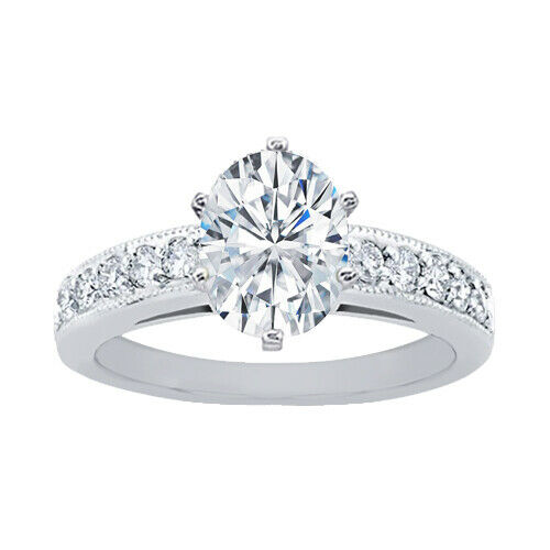 GIA Certified Diamond Engagement Ring 1.10 CT Oval Cut & Round Shape 14k Gold