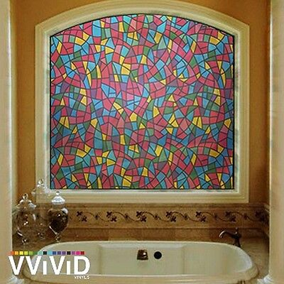 """Frosted Modern Stained Glass Window Privacy Home Decor DIY Vinyl Film 36"""" x 50ft"""