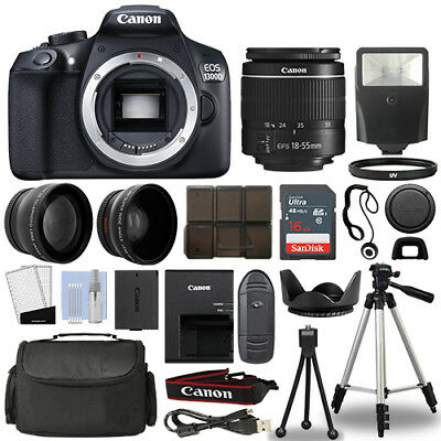 Canon 1300D / Rebel T6 DSLR Camera + 18-55mm 3 Lens Kit + 16GB Top Value Bundle