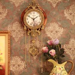 Vintage Retro European Luxury Metal Artwork Wood Wall Clock Silent Non-ticking