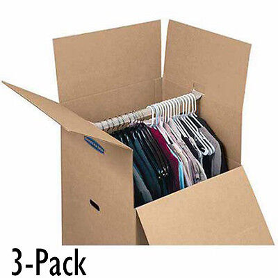 Moving Box For Hanging Wardrobe 3 Pack Closet Storage Clothes Organizer Reusable