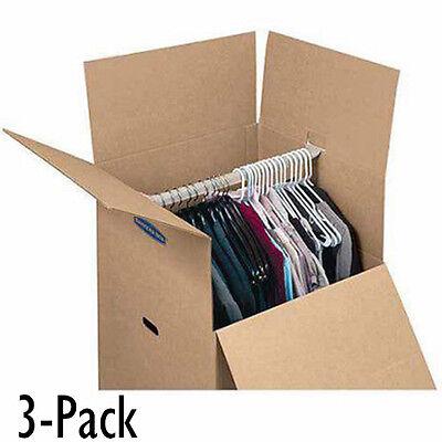 Moving Box For Hanging Wardrobe 3 Pack Closet Storage Clothes Organizer Reusable