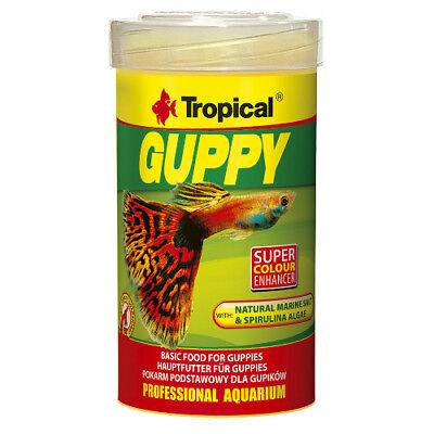 Tropical Guppy Flocke 100ml speziell für lebendgebärende Zierfische mit Meersalz (Fisch Salz)
