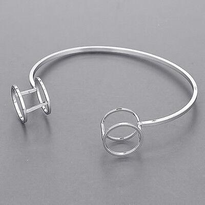 Silver Circular Bracelets - Silver Open Double Circular End Design Elegant Simple Bangle Bracelet