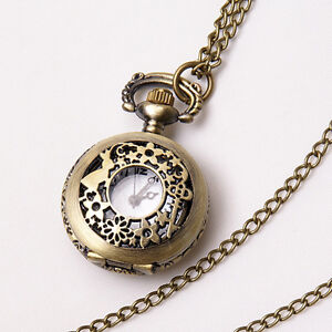 Vintage Bronze Silver Quartz Pocket Watch Necklace Chain Steampunk Antique Style