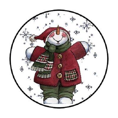 48 Snowman #3 !!!  ENVELOPE SEALS LABELS STICKERS 1.2
