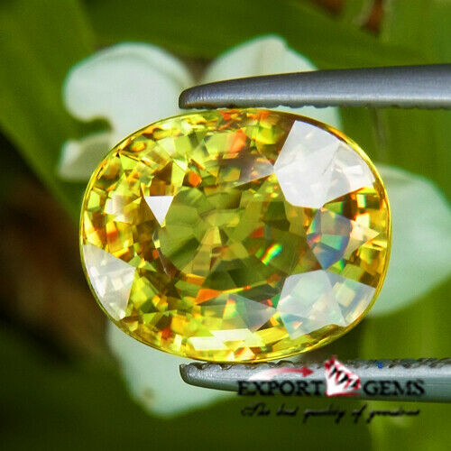 UNHEATED 4.52CT NATURAL YELLOW OVAL SPHENE