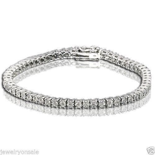 1 ROW DIAMOND WHITE GOLD FINISH TENNIS BRACELET 7 INCH 0.25 CT 8