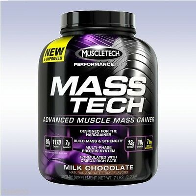 (MUSCLETECH MASS TECH (7 LB) muscle whey protein weight gainer hard creatine bcaa)