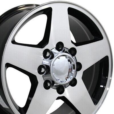 20x8.5 Wheels Fit HD Silverado Sierra Chevy Blk Mach'd Rims 8x165 5503 W1X SET
