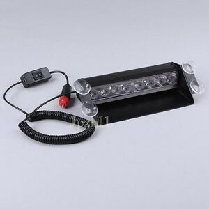 8-LED-Amber-White-Car-Police-Strobe-Flash-Light-Dash-Emergency-3-Flashing-Modes