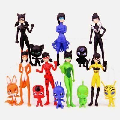 Miraculous Ladybug 14PCS Girl Cartoon Action Figure Cake Topper XMAS Toys