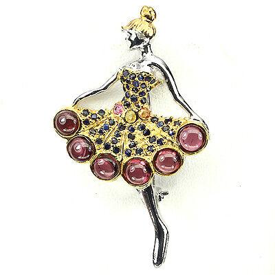Brosche Mädchen mit Petticoat Rhodolit Saphir 925 Silber 585 Gelbgold Weißgold