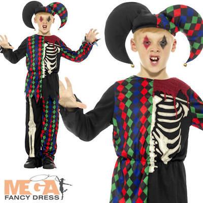 Skeleton Jester Costume (Skeleton Jester Boys Fancy Dress Circus Clown Kids Halloween Horror Costume)