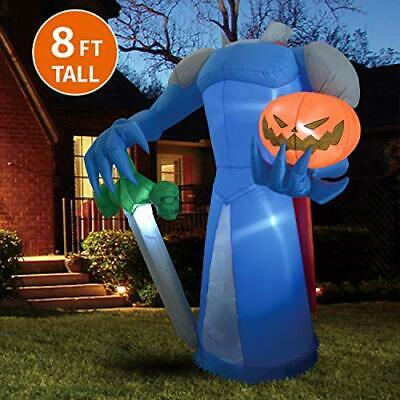 Joiedomi Halloween 8 FT Inflatable Pumpkin Knight with Build-in LEDs Blow Up ...