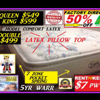 New Mattress King,Queen,Double,King Single, Single. RENT OPTION