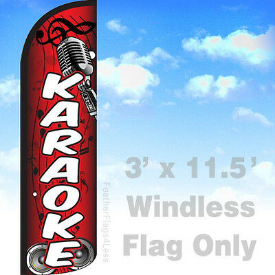 Karaoke - Windless Swooper Flag Feather Night Club Banner Sign 3x11.5 - Rq