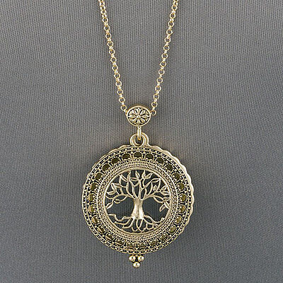 Antique Gold Chain Tree Of Life Magnifying Glass Locket Pendant Necklace