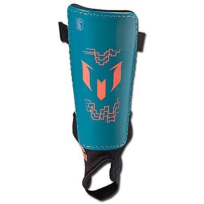 adidas Performance Messi 10 Youth Kids Shin Guard, Power Teal/Solar Orange Small