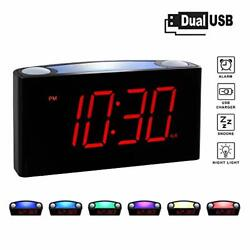 Rocam Home LED Digital Alarm Clock - 6.5 Large Red Display, Loud Alarm, 7 Red